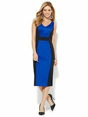 bccf948d448f New SOLD OUT New York & Company 7th Ave Scuba Colorblock Midi Sheath Dress M
