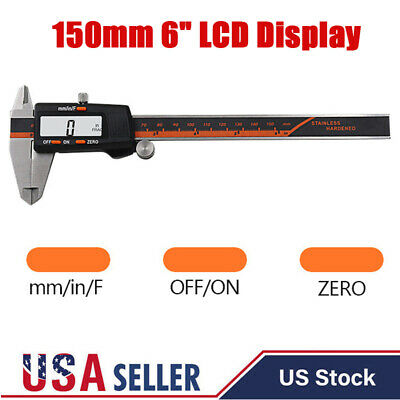 DIGITAL ELECTRONIC CALIPER Vernier 6Inch Measuring Stainless Steel Micrometer