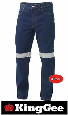 PACK OF 4 PAIR KING GEE  DENIM WORK JEANS WITH 50mm 3M REFLECTIVE TAPE K53030