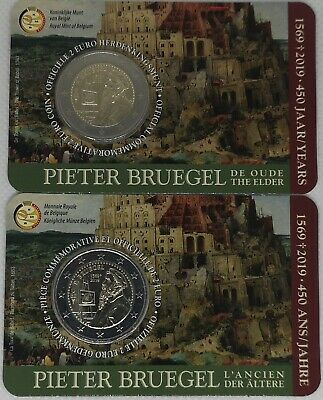 #RM# 2x  COINCARD 2 EURO BELGIQUE 2019 - Pieter Bruegel (FRENCH + DUTCH)