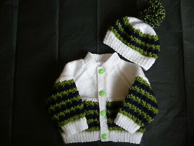 """Hand Knitted Baby Cardigan Set ~ 16"""" ~  Boy ~ White / Lime / Navy  0 - 3 months"""