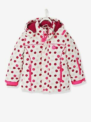 Vertbaudet Girls' Ski Padded Jacket - white light all over printed 9/10 y 138cm