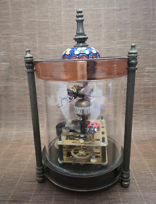 rare old collectible glass copper cloisonné mechanical clock with lady beetle OT