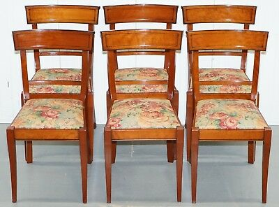 6 Rrp £4500 Grange France Solid Cherry Wood Dining Chairs Floral Upholstery