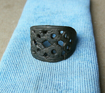 SUPERB GENUINE ANCIENT VIKING BRONZE Wide RING - circa 8th-10th century AD