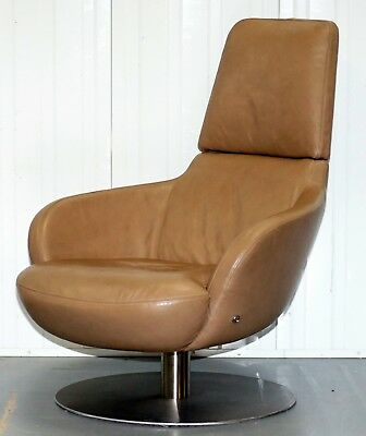Rare Made In Italy Natuzzi Brend Swivel Armchair Rrp £2200 Aged Brown Leather
