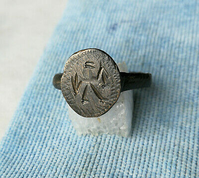 ** PRIEST PERFECTING RITUAL ** Ancient Bronze Legionary Roman Ring AMAZING