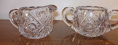 Vintage Cut Glass Open Sugar & Creamer Pinwheel Starburst Heavy Cut  EUC!
