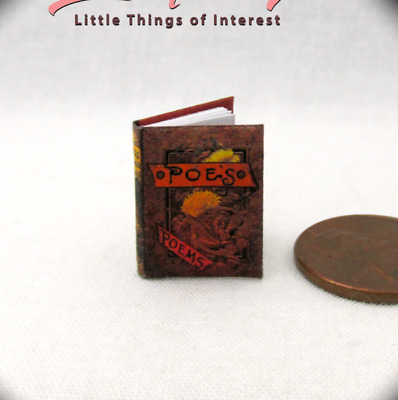 THE WORKS OF EDGAR ALLEN POE Miniature Book Dollhouse 1:12 Scale Readable Book