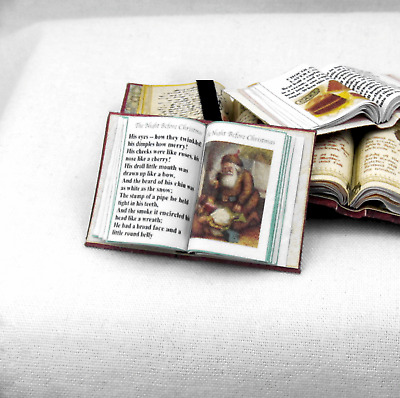 1:12 SCALE MINIATURE BOOK TWAS THE NIGHT BEFORE CHRISTMAS 1912 DOLLHOUSE SCALE