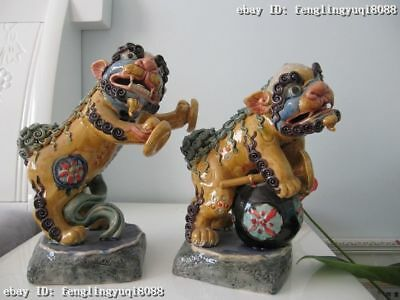 Chinese Pottery Wu Cai porcelain Two Foo FU Dog Lion Play music horn bugle Pair