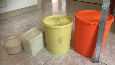 Vintage Tupperware 4 pieces orange yellow beige canisters