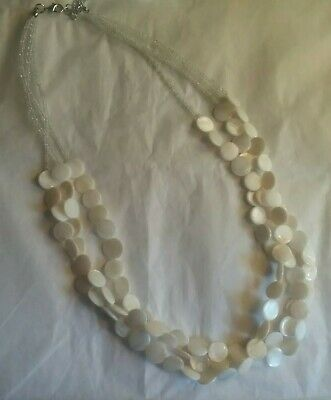 db3c3369b455 Multi Strand Creamy Mother of Pearl and Clear Sead Beads Necklace 22