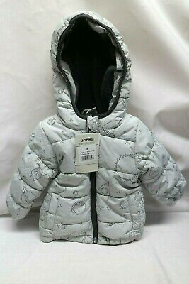 Quilted coat with Astronaut pattern size 68 Light Grey