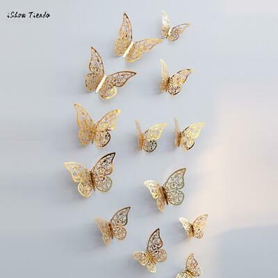 New 12 Pcs 3D Hollow Wall Stickers Butterfly Fridge  for Home Decoration