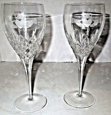 Two Galaway Fine Wine Glasses Claddagh Friendship Hearts Collection In Gift Box