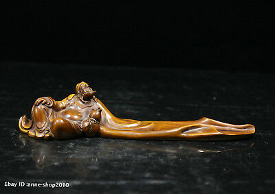 19.5cm Chinese natural boxwood Hand-carved Poet Li Bai statue sculpture ACPU