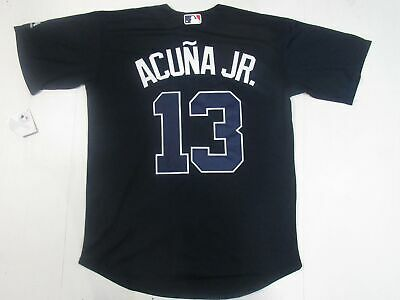 95d21afa991 Ronald Acuna Jr  13 Atlanta Braves Men Adult Cool Base Player Jersey Navy