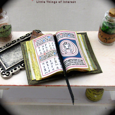 Open Book BLACK GRIMOIRE MAGIC Miniature Book Dollhouse 1:12 Scale Supernatural