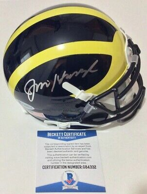 016e305bf9c Jim Harbaugh Signed Autographed Michigan Wolverines Mini Helmet Beckett Bas