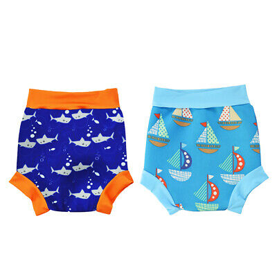 2pcs Swim Diaper Baby Boys Nappy Cover Trunks Sailing Print Washable