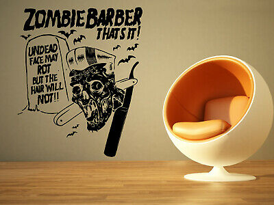 Wall Sticker Barber Shop Zombie Sign Hair Joke Mural Decal Vinyl Art Decor ZX616