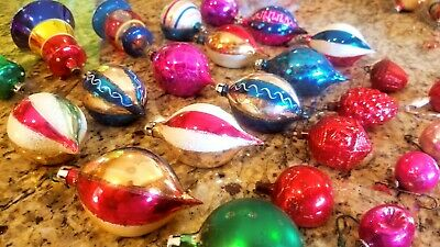Vintage 24 Hand Blown Indent Glass Christmas Ornaments Santa Mercury Embossed