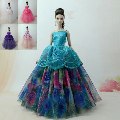 Handmade doll princess wedding dress for  1/6 doll party gown clothes  ^P