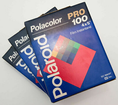 3x boxes of Polaroid Polacolor PRO 100 ISO large format 4x5 inch / 9x12 cm film