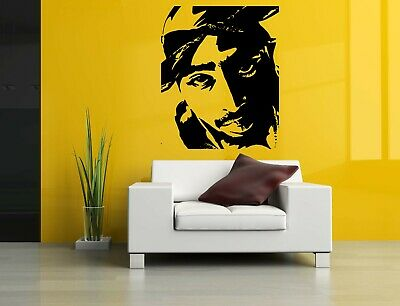 Wall Sticker Tupac Rapper Face Portrait Music Mural Decal Vinyl Art Decor ZX619
