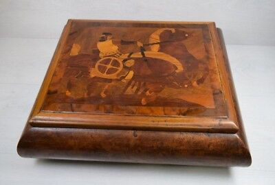 Antique Bird's Eye Figure Wooden Wood Huge Decorative Box Trinket Incrustations