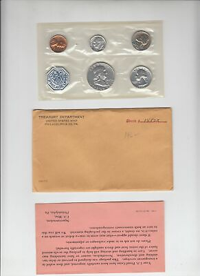 1962 US Mint Proof Set  -- 90% silver 50c 25c 10c -- in OGP Envelope - Clean