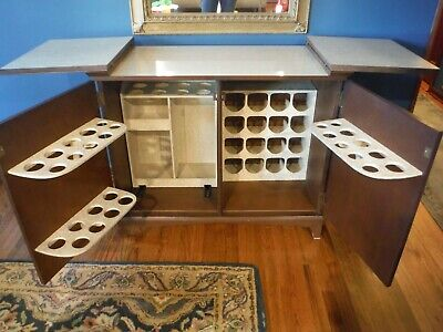 Mid Century Modern Liquor Cabinet Bar Serving Piece Mad Men Style