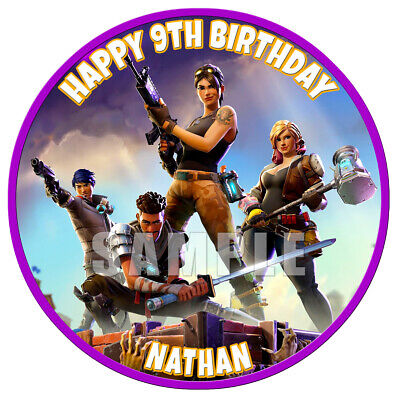 FORTNITE round PREMIUM QUALITY Icing Image Cake Topper PERSONALISED