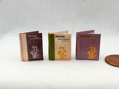 POEMS by Emily Dickinson Miniature Book Set of 3 - Dollhouse 1:12 Scale Readable