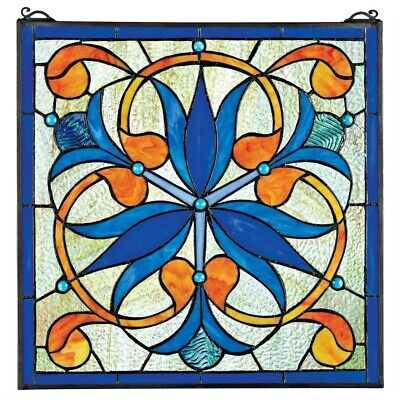 "17"" x 17"" Blue Floral Orchids Tiffany Style Stained Glass Window Panel"