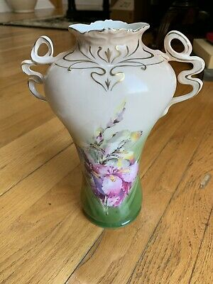"ROYAL BAYREUTH HAND PAINTED ANTIQUE VASE BLUE MARK Floral 10"" Tall"