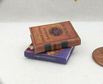 2 SCIENCE BOOKS Miniature Dollhouse 1:12 Scale Readable Illustrated Books