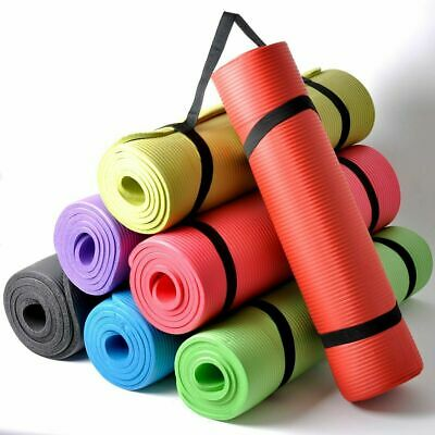 Large 10mm Thick Yoga Mat for Pilates Gym Exercise Non Slip With Carrier Strap