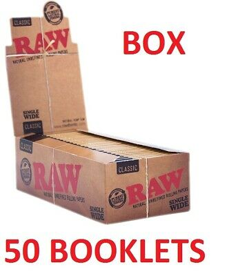 Full box of 50 booklet RAW single wide classic rolling paper cigarettes ORIGINAL