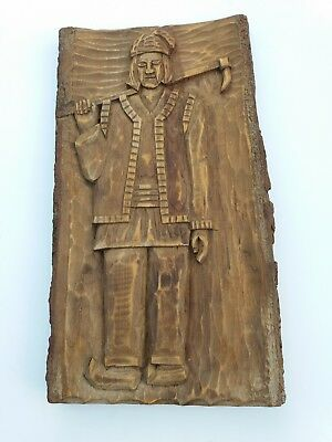 Vintage Wood Carved Wall Plaque 44cm long 24cm wide, subject farm worker?