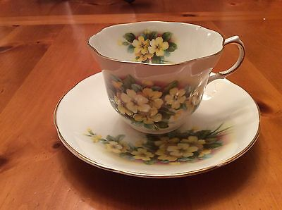 QUEEN'S ROSINA BONE CHINA ENGLAND MUG/CUP and SAUCER  YELLOW FLOWERS and TRIM