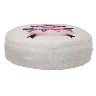 Round Upholstered Footstool Cover Wooden Foot Rest Stool Slipcover 30x5cm