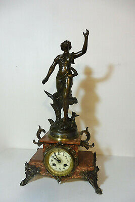 Antique French Clock Marble Clock Bronze Clock Shelf Mantel Old Clock Vintage
