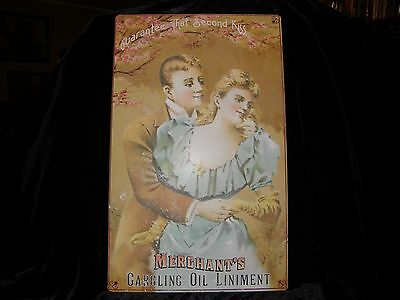 """Tin Sign Reproduction    First Kiss  Merchant's Gargling Oil Liniment  10"""" X 16"""""""