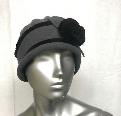 25ddcc8ec04e8 Parkhurst Black Gray Rosette Applique Hat Womens Made in Canada 100% wool