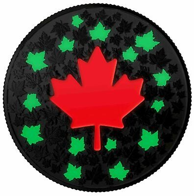 2018 $5 Canada .999 Silver Ngc Sp70 Hearts Aglow Glow In The Dark Maple Leaf