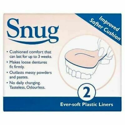 Snug Denture Cushions With Ever Soft Plastic Liner 2 Improved Softer Cushions UK