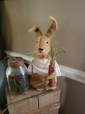 Primitive Bunny Stump Doll With Carrot
