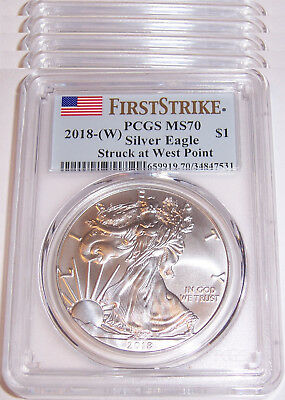 Lot of 6 - 2018-(W) $1 PCGS MS70 First Strike Flag American Silver Eagles!!!